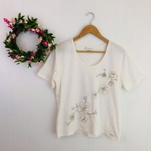Blue Willi's Blossom Embroidered Appliqué Tee